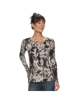 Women's Rock &Amp; Republic® Lattice Shoulder Tee by Rock &Amp; Republic