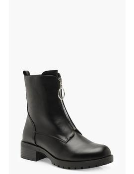 O Ring Pull Biker Boots by Boohoo