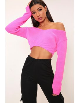 Hot Pink V Neck Cropped Jumper by I Saw It First