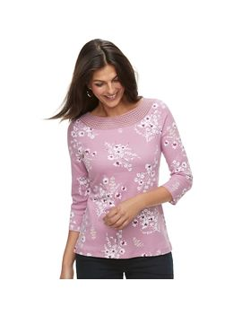 Women's Croft &Amp; Barrow® Crochet Trim Boatneck Top by Croft &Amp; Barrow