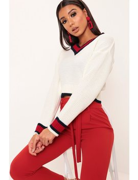 White V Neck Cricket Jumper by I Saw It First