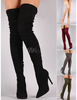 Tight High Boots 2019 Over Knee High Heel Boots Black Women Suede Boots by Milanoo