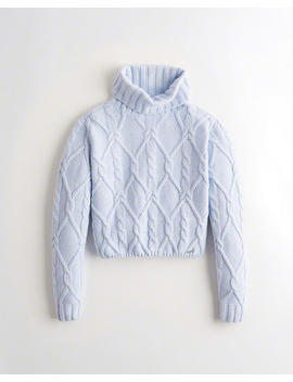 Crop Cable Turtleneck Sweater by Hollister