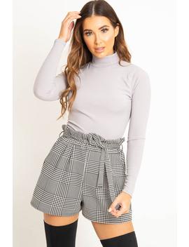 Grey Rib Roll Neck Long Sleeve Top   Marci by Rebellious Fashion