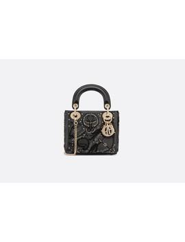 Mini Lady Dior Tas Van Geborduurd Kalfsleer by Dior
