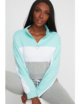 Colour Block Circle Half Zip Long Sleeve Sweatshirt by Urban Planet