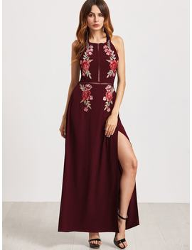 Embroidered Rose Applique Tied Open Back High Slit Dress by Romwe