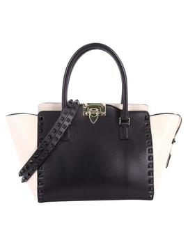 Rockstud Rigid Mini Black And White Leather Tote by Valentino