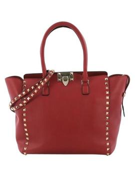 Rockstud Medium Red Leather Tote by Valentino
