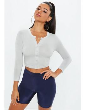 Grey Button Front Long Sleeve Crop Top by Missguided