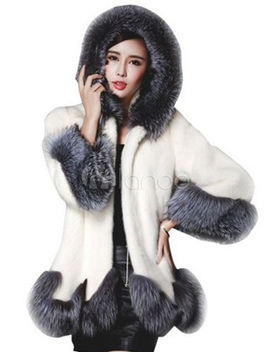 Faux Fur Coat Women Black Long Sleeves Hooded Winter Coats  by Milanoo