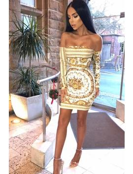 Zina Dress   Gold Print by Want My Look