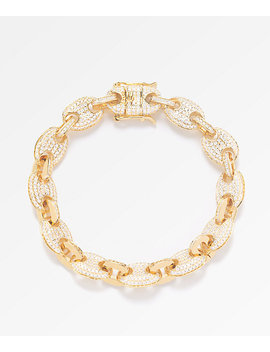 The Gold Gods 8mm Diamond Puff Link Gold Bracelet by The Gold Gods