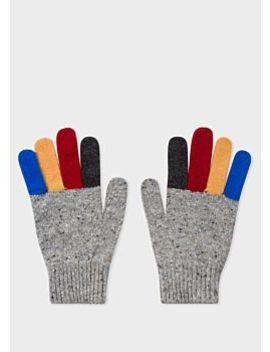 Men's Grey Donegal Stripe Wool Gloves by Paul Smith