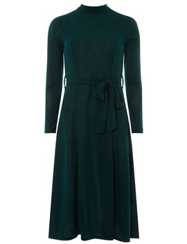Green High Neck Cut And Sew Skater Dress by Dorothy Perkins