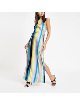 Blue Stripe Tie Waist Maxi Dress by River Island