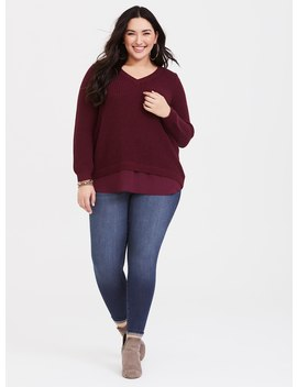 Maroon Cable Knit 2fer Sweater by Torrid