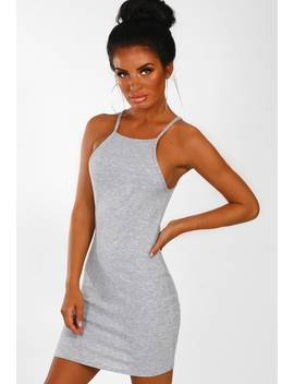 Bittersweet Vibe Grey Ribbed Jersey Mini Dress by Pink Boutique