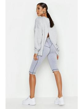 Split Back Crew Neck Sweat by Boohoo