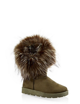 Faux Fur Cuff Boots by Rainbow