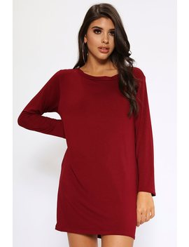Burgundy Basic Long Sleeve T Shirt Dress by I Saw It First