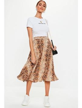 Brown Snake Pleated Midi Skirt by Missguided