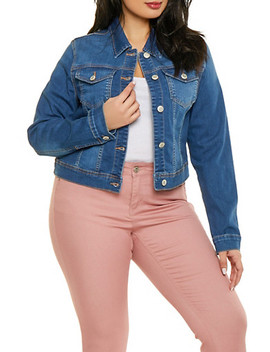 Plus Size Wax Denim Jacket by Rainbow