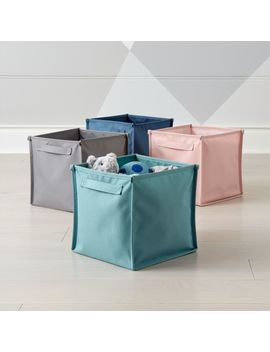 Canvas Teal Cube Bin by Crate&Barrel