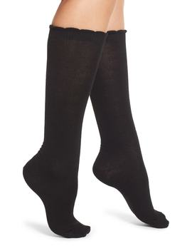 Flat Knit Merino Blend High Socks by Nordstrom