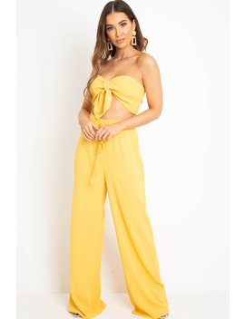 Yellow Tie Front Bandeau Wide Leg Trouser Co Ord   Roselia by Rebellious Fashion
