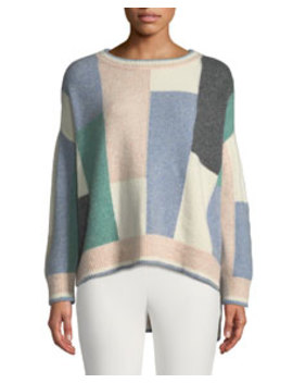 Colorblock Brushed Cashmere Crewneck Pullover Sweater by Adam Lippes