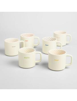 Polka Dot Sentiment Mugs Set Of 6 by World Market
