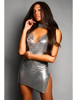 Poppin' Bottles Silver Chainmail Mini Dress by Pink Boutique