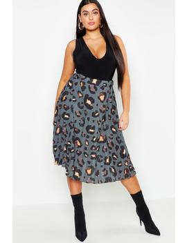 Plus Leopard Print Pleated Midi Skirt by Boohoo