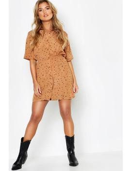 Woven Heart Print Button Through Shirt Dress by Boohoo