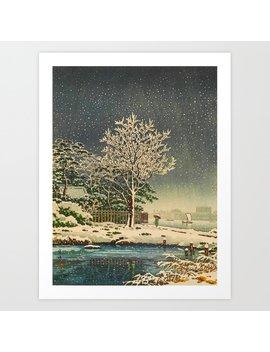 Tsuchiya Kôitsu Japanese Woodblock Vintage Print Winter Landscape Snowfall Art Print by
