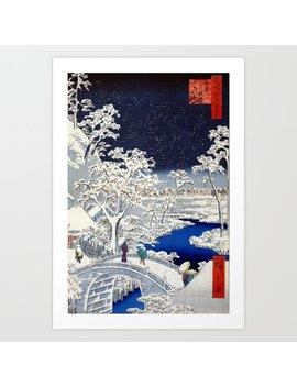 Utagawa Hiroshige Meguro Drum Bridge And Sunset Art Print by