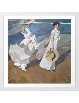 Joaquín Sorolla Y Bastida   Strolling Along The Seashore Art Print by