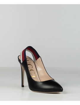 Women's Web Black Leather Slingbacks by Gucci                                      Sold Out