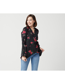 Laurie Felt Woven Wrap Blouse With Sleeve Detail by Qvc