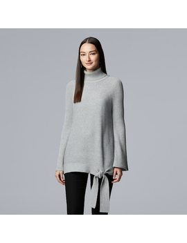 Women's Simply Vera Vera Wang Side Tie Ribbed Turtleneck Sweater by Kohl's