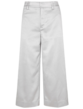 Silver Wide Leg Satin Culottes by Vince