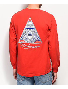 Huf X Budweiser Triangle Red Long Sleeve T Shirt by Huf