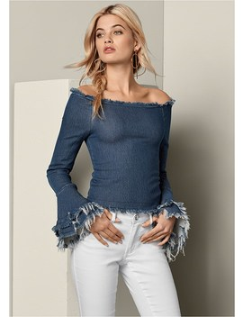 Off The Shoulder Denim Top by Venus