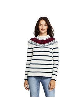Lands' End   Multi Petite Lofty Blend Fair Isle Stripe Roll Neck Jumper by Lands' End