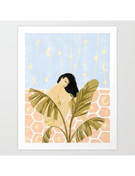 Moon And Stars Art Print by