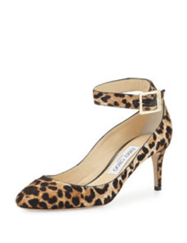 Helena Leopard Print Calf Hair Ankle Strap Pump, Natural by Jimmy Choo