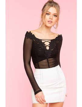 Crochet Lace Mesh Off Shoulder Bodysuit by A'gaci