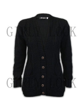 Women Ladies Chunky Cable Sweater Long Sleeves Knitted Cardigan Button Jumper by Ebay Seller