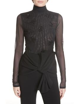 Beaded Mesh Turtleneck Top by Cinq À Sept